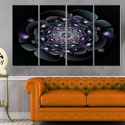 Designart Blue And Black Fractal Flower Floral Canvas Art Print - 4 Panels