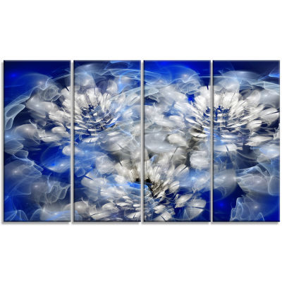 White Chrysanthemum Fractal Flower Large Floral Canvas Art Print - 4 Panels