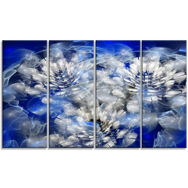 Designart White Chrysanthemum Fractal Flower LargeFloral Canvas Art Print - 4 Panels