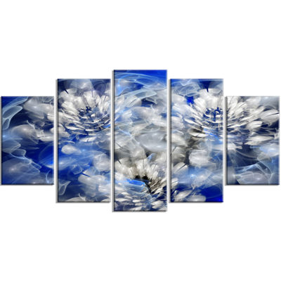 Designart White Chrysanthemum Fractal Flower LargeFloral Wrapped Canvas Art Print - 5 Panels