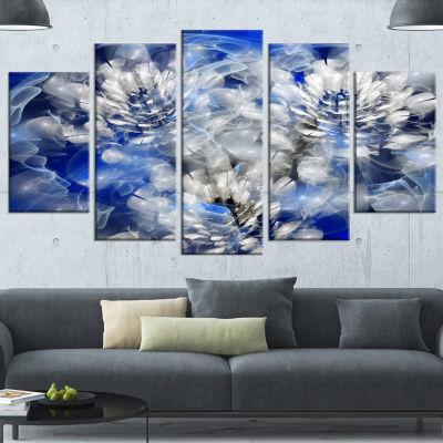 Designart White Chrysanthemum Fractal Flower LargeFloral Canvas Art Print - 5 Panels