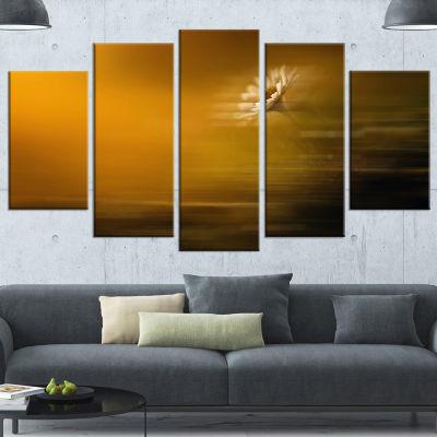 Designart Motion Blurred Wild Flower Impression Large FloralWrapped Canvas Art Print - 5 Panels
