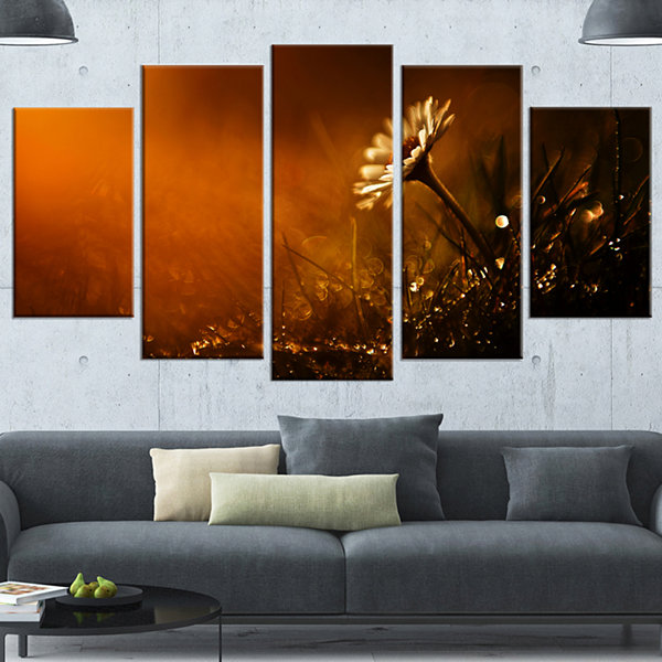 Design Art White Wild Flower At Sunset After RainLarge Floral Canvas Art Print - 5 Panels