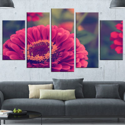 Designart Vintage Photo Of Cute Red Flowers LargeFloral Wrapped Canvas Art Print - 5 Panels
