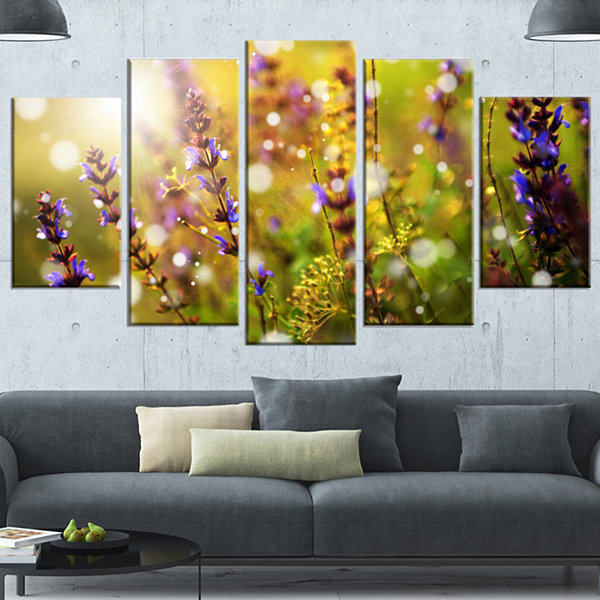 Designart Beautiful Purple Wild Flowers Large Floral Canvas Art Print - 4 Panels