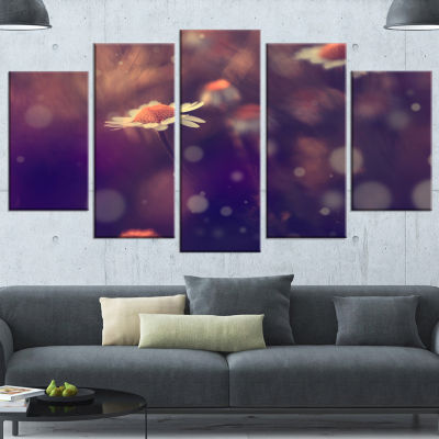 Designart Cute Vintage Flower With Bokeh Large Floral Canvas Art Print - 4 Panels