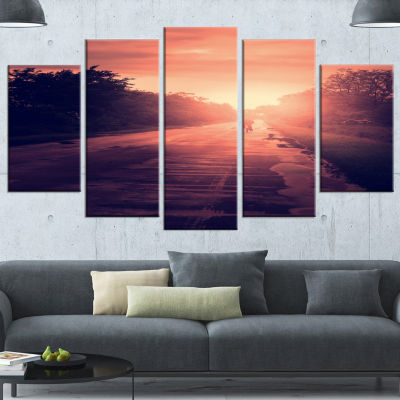Designart Vintage Biker At Sunset Modern LandscapeWall ArtWrapped Canvas - 5 Panels