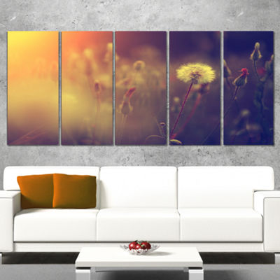 Designart Vintage Photo Of Dandelion Field LargeFloral Canvas Art Print - 5 Panels