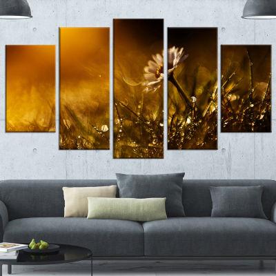 Designart Vintage Wild Flower In Sunset Large Floral Canvas Art Print - 4 Panels