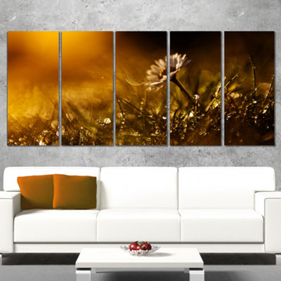 Designart Vintage Wild Flower In Sunset Large Floral Canvas Art Print - 5 Panels