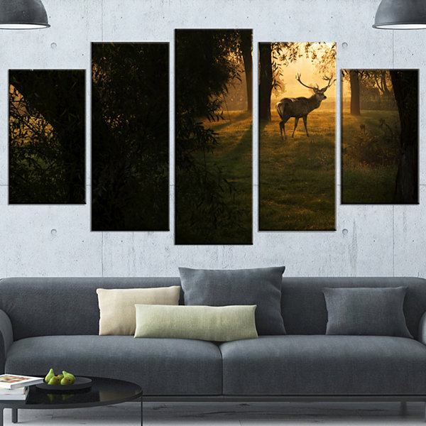 Designart Deer In Sunset In Deep Forest Large Forest Wrapped Canvas Art Print - 5 Panels