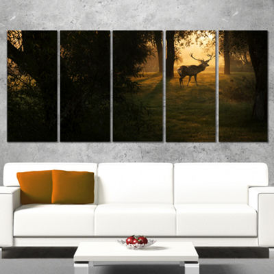 Designart Deer In Sunset In Deep Forest Large Forest Canvas Art Print - 5 Panels