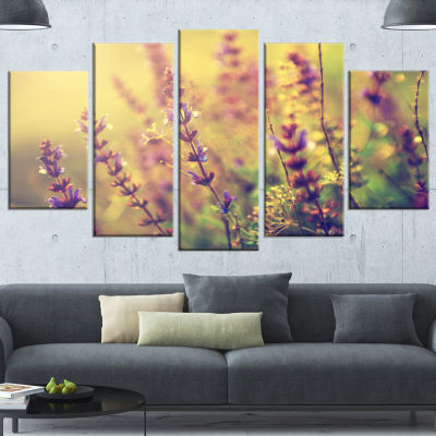 Designart Vintage Photo Of Wild Purple Flower Large Floral Wrapped Canvas Art Print - 5 Panels