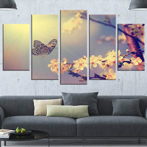 Design Art Vintage Butterfly And Cherry Tree LargeFloral Canvas Art Print - 5 Panels
