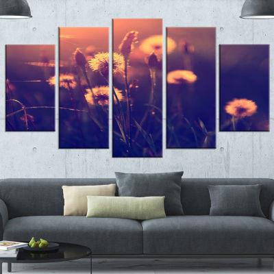 Design Art Vintage Photo Of Dandelion Garden LargeFloral Canvas Art Print - 4 Panels