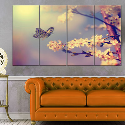 Vintage Butterfly With Flowers Large Floral CanvasArt Print - 4 Panels