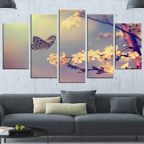 Designart Vintage Butterfly With Flowers Large Floral Wrapped Canvas Art Print - 5 Panels