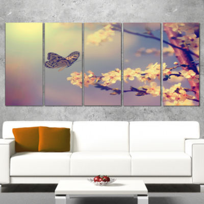 Vintage Butterfly With Flowers Large Floral CanvasArt Print - 5 Panels