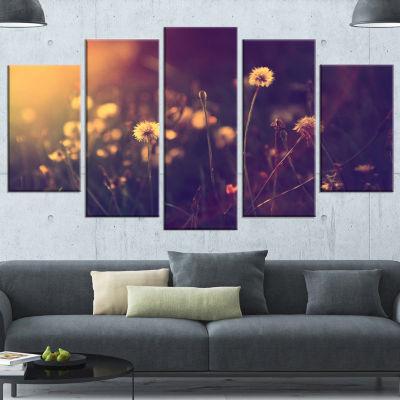 Design Art Vintage Dandelion Meadow Photo Large Floral Canvas Art Print - 4 Panels