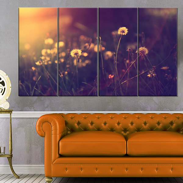 Designart Vintage Dandelion Meadow Photo Large Floral Canvas Art Print - 4 Panels