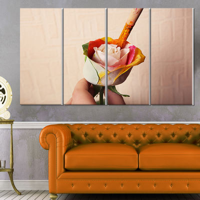 Person Painting Beautiful Rose Large Floral CanvasArt Print - 4 Panels