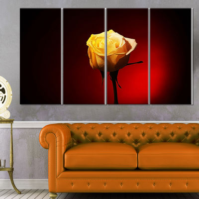 Beautiful Yellow Colored Rose Large Floral CanvasArt Print - 4 Panels