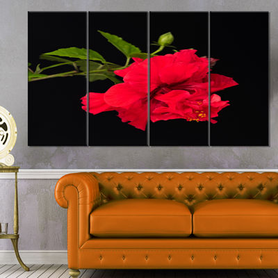 Designart Bright Red Hibiscus On Black Large Floral Canvas Art Print - 4 Panels