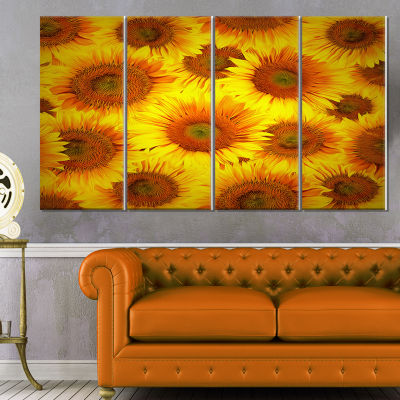 Sunflower Heads Decorative Background Large FloralCanvas Art Print - 4 Panels