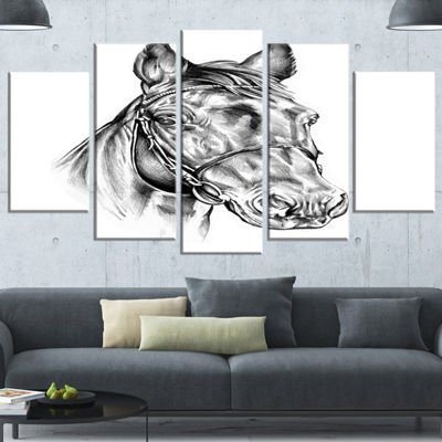 Designart Freehand Horse Head Pencil Drawing Animal Canvas Art Print - 4 Panels