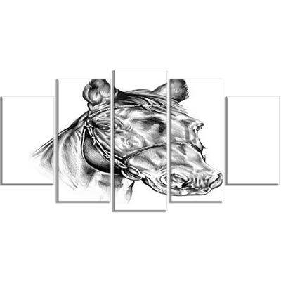 Designart Freehand Horse Head Pencil Drawing Animal Wrapped Canvas Art Print - 5 Panels
