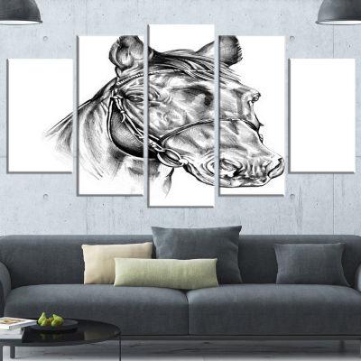 Designart Freehand Horse Head Pencil Drawing Animal Canvas Art Print - 5 Panels
