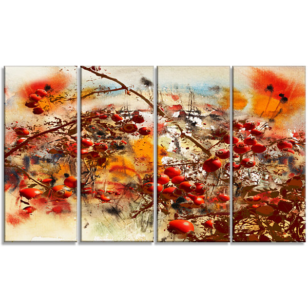 Designart Brier Rose Abstract Background Large Floral Canvas Art Print - 4 Panels