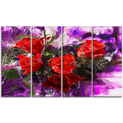 Designart Five Red Roses Abstract Background Floral Art Canvas Print - 4 Panels
