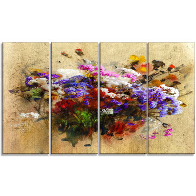 Designart Floral Still With Bunch Of Flowers Floral Art Canvas Print - 4 Panels