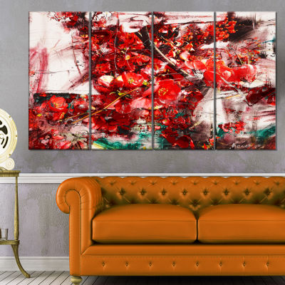 Design Art Red Flowers Texture Watercolor Large Abstract Canvas Artwork - 4 Panels