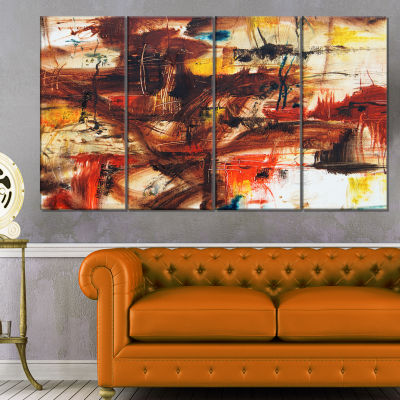 Designart Watercolor Red And Yellow Spots Large Abstract Canvas Artwork - 4 Panels