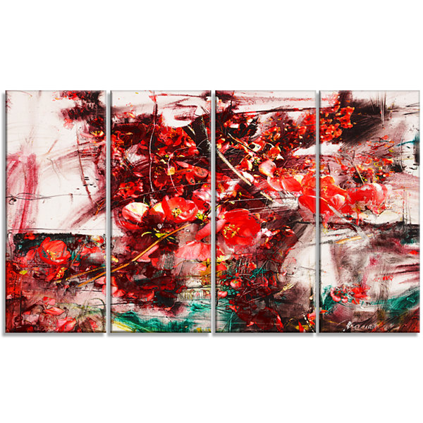 Designart Red Flowers Abstract Background Large Abstract Canvas Artwork - 4 Panels
