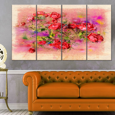 Designart Roses Pastel Chalk Illustration FloralArt CanvasPrint - 4 Panels