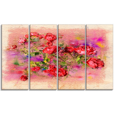 Roses Pastel Chalk Illustration Floral Art CanvasPrint - 4 Panels