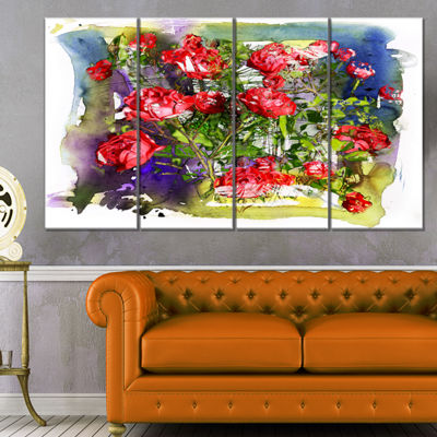 Designart Red Roses Bunch Watercolor Floral Art Canvas Print- 4 Panels
