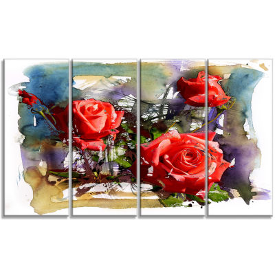 Large Red Roses Composition Floral Art Canvas Print - 4 Panels