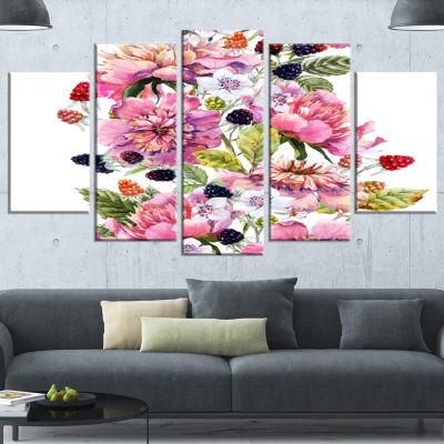Designart Watercolor Pink Floral Composition Floral Art Canvas Print - 4 Panels
