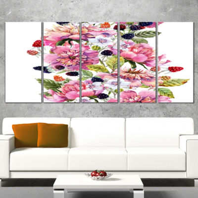 Designart Watercolor Pink Floral Composition Floral Art Canvas Print - 5 Panels