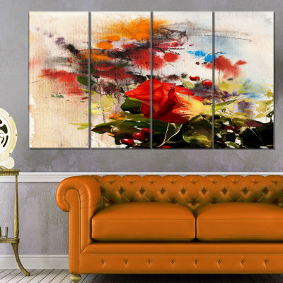 Designart Roses And Sunny Day Watercolor Floral Art Canvas Print - 4 Panels