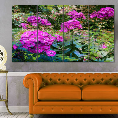 Designart Theme With Pink Flowers And Green FloralArt Canvas Print - 4 Panels