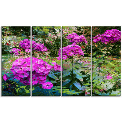 Theme With Pink Flowers And Green Floral Art Canvas Print - 4 Panels