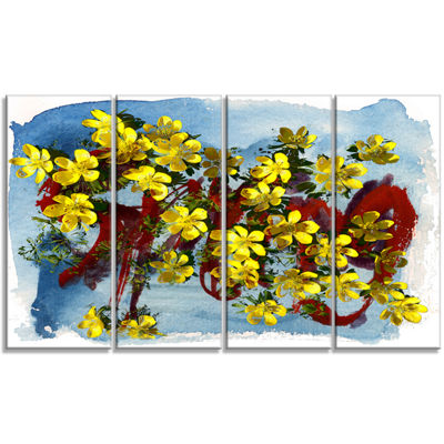 Designart Lettering And Yellow Spring Flowers Floral Art Canvas Print - 4 Panels