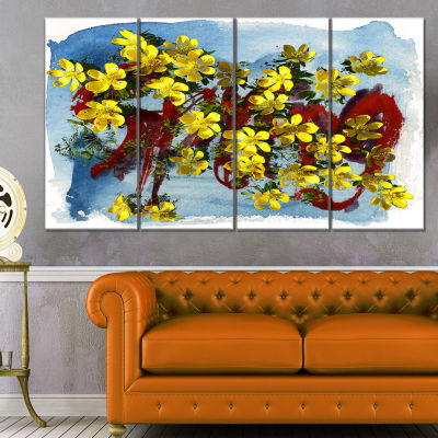 Design Art Lettering And Yellow Spring Flowers Floral Art Canvas Print - 4 Panels