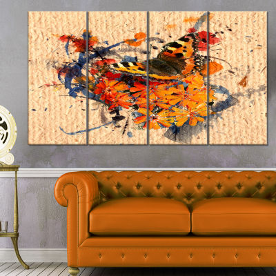 Designart Butterfly And Abstract Art On Paper Floral Art Canvas Print - 4 Panels