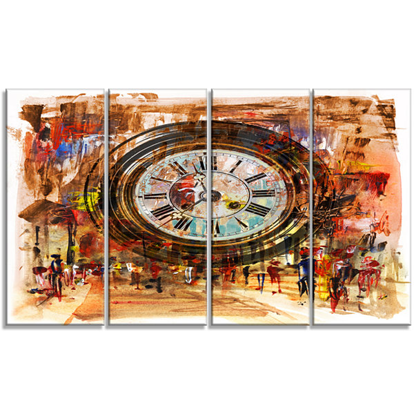 Design Art People And Time Acrylic Painting LargeAbstract Canvas Artwork - 4 Panels